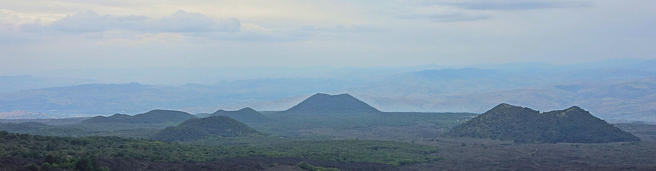 Numerous ancient volcanic cones on the western flank of Mt. Etna, Sicily (Photo: T. Griffiths)